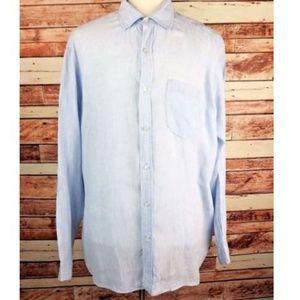Vineyard Vines Shirt Linen Blue Long Sleeve Sz XL